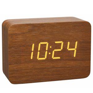 TFA Radiogestuurde wekker houtlook met temperatuur en datum