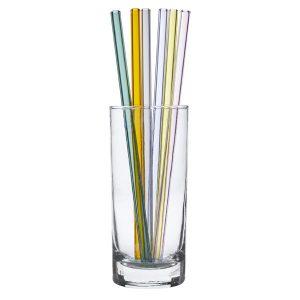 TFA Glazen rietjes 6 stuks gekleurd